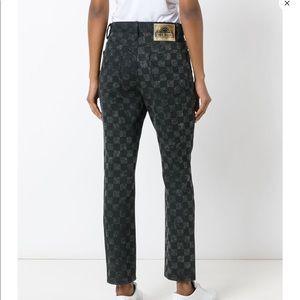 New $395 Marc Jacobs grey check denim jeans sz 25